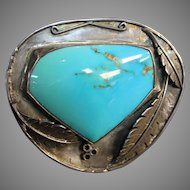 WOW, SUPER MARK DOWN Large Fine Turquoise Navajo Sterling Cuff Bracelet circa 1945 leaf design heavy w/ excellent piece of turquoise