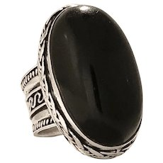 Bold and Intricate Onyx and Sterling Silver Ring (SS10275)