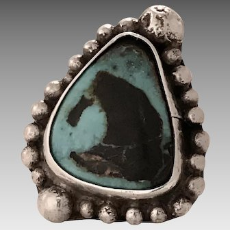 Impressive Coin Silver and Turquoise Ring (SS10288)