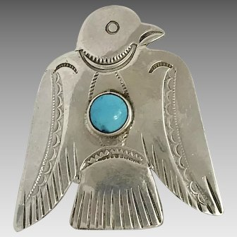 Southwestern Sterling Silver and Turquoise Bird Pin (SS10290)