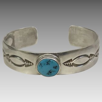 Beautiful! Signed Joe Moquino Turquoise and Sterling Silver Bracelet (SS10292)