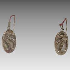 Custom Made Designer Paua Shell and Sterling Silver Earrings (SS10314)