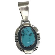 Famous Designer Rita Touchine Zuni Sterling Silver and Turquoise Pendant (SS10319)