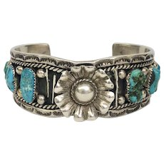 Vintage Estate Floral Southwestern Sterling Silver and Turquoise Cuff Bracelet (SS10340)