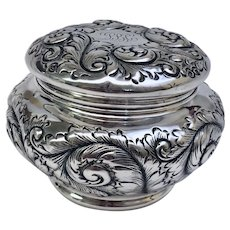 Rare Antique Estate Gorham All Sterling Silver Powder Jar and Puff Circa 1889 Art Nouveau (SS10345)