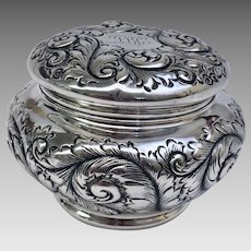 Rare Antique Estate Gorham All Sterling Silver Powder Jar and Puff Circa 1889 Art Nouveau (SS10345)