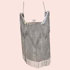 WOW SUPER MARK DOWN RARE Art Deco Vintage .800 Silver Mesh Purse with Fringe accents (SS10356)