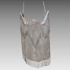 RARE Art Deco Vintage .800 Silver Mesh Purse with Fringe accents (SS10356)