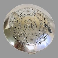 Vintage Sterling Silver Saucer Compact Circa 1950's Never Used with Original Puff (SS10361)