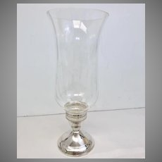 Circa 1800s Sterling Silver and Glass Candle Holder With Grapes Etching (SS10365)