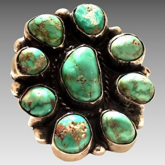 WOW SUPER MARK DOWN Huge Vintage Zuni Coin Silver/ Turquoise Flower Ring Circa 1941 (SS10372)