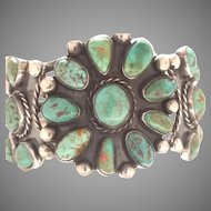 WOW SUPER MARK-DOWN HUGE Zuni Coin Silver/ Turquoise Flower Bangle Cuff Circa 1941 Significant example of Authentic Southwestern Zuni Tribe Jewelry (SS10374)