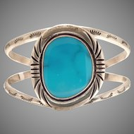 Vintage Navajo Coin Silver/Turquoise from Lone Mtn, Bangle/Cuff circa 1940 (SS10375)
