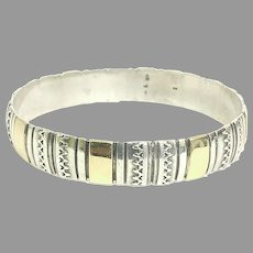 Vintage Custom 14kt Yellow Gold and Sterling Silver Bangle Circa 1984 (SS10392) Beautiful, Robust Bangle for any Occasion on SALE Great Vintage Piece