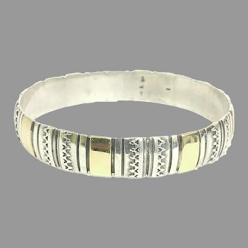 Vintage Custom 14kt Yellow Gold and Sterling Silver Bangle Circa 1984 (SS10392) Beautiful, Robust Bangle for any Occasion