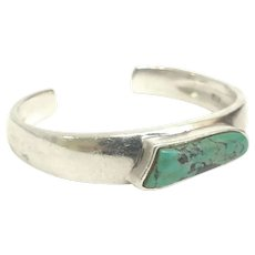 Vintage Quality Custom Made Sterling Silver and Natural Turquoise Open Bangle Circa 1970 (SS10393) ON SALE thru 4 -27-2021