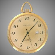 Gruen 17 Jewels Pocket Watch with textured back. Circa 1960s