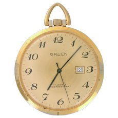 Vintage Pocket Watch Gruen with date and 2nd sweep hand 17 jewels, 16s circa 1960(WAT10005)Running Accurate and Serviced on SALE NOW