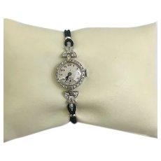 Top Design Art Deco Elegant 17 Jewels Platinum Diamond Ladies wrist watch Circa 1949. Safety clasp (WAT10057a)on SALE thru Thursday, 12-19-19