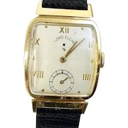 Christmas SALE  14 k Vintage Professionally Restored/Accurate Lord Elgin 21 Jewel Wristwatch Circa 1945 (WAT10116a)