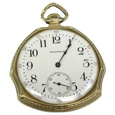 Intro Sale: 20% Off: Antique Unique Fashion Waltham 12S Circa 1908 17 Jewel Pocket Watch (WAT10151)