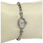 Vintage Hamilton 22 Jewel Diamond, 14K White Ladies Wrist Watch, Circa 1958 (WAT10153)