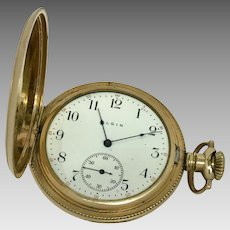 Circa 1908 14K Gold Filled Elgin High Quality Hunter's Case Pocket Watch 15 Jewel 12S (WAT10173)