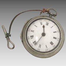Circa 1772 Sterling Silver Fusee Pocket Watch (WAT10176)