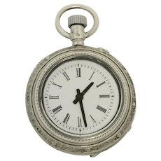 Vintage Silver Ladies Pocket Watch Combined with New Quartz (WAT10177) - Red Tag Sale Item