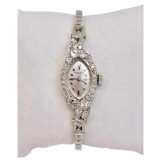 WITH BOX! Vintage Ladies Watch 14 Karat White Gold Kent (Swiss) with Diamonds Circa 1961 (WAT10193)
