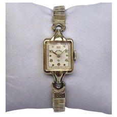 Vintage Lady Elgin 19 Jewel, 14 Karat Yellow Gold Filled Wrist Watch With Box Circa 1948 (WAT10197)