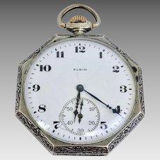 Vintage Circa 1923 Estate Elgin Gold Filled Pocket Watch 12s, 7 Jewels (WAT10199)