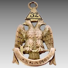 Antique Vintage 14 Karat Yellow Gold 32nd Degree Masonic Watch Fob Circa 1800's (WAT10201)