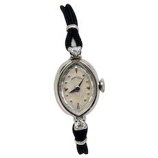 Vintage Lady Hamilton 14 Karat White Gold 22 Jewel Watch with Diamond Accents and Original Box (WAT10202)