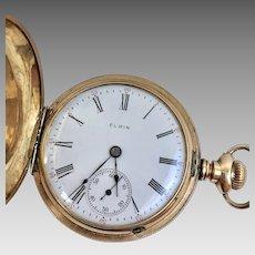 Antique Running 14 Karat Yellow Gold Elgin 7 Jewel Hunter Case Pocket Watch Circa 1906 With Original Red Case (WAT10203)