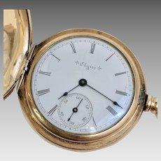 Antique 14 Karat Gold Filled Elgin Hunter Case Pocket Watch 6s, Circa 1900 (WAT10204)
