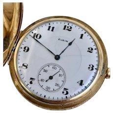 Antique 14 Karat Yellow Gold Elgin Hunter Case Pocket Watch, 17 Jewel, 12s, Circa 1925 (WAT10205)