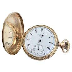 Antique Circa 1883 Elgin Pocket Watch 14 Karat Yellow Gold, 11 Jewels, Size 6s with Original Box (WAT10213)