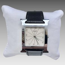 Vintage Ladies Hermés Heure 'H' Style Wrist Watch Stainless Steel with Original Band, Box, and Owner's Manual (WAT10218)