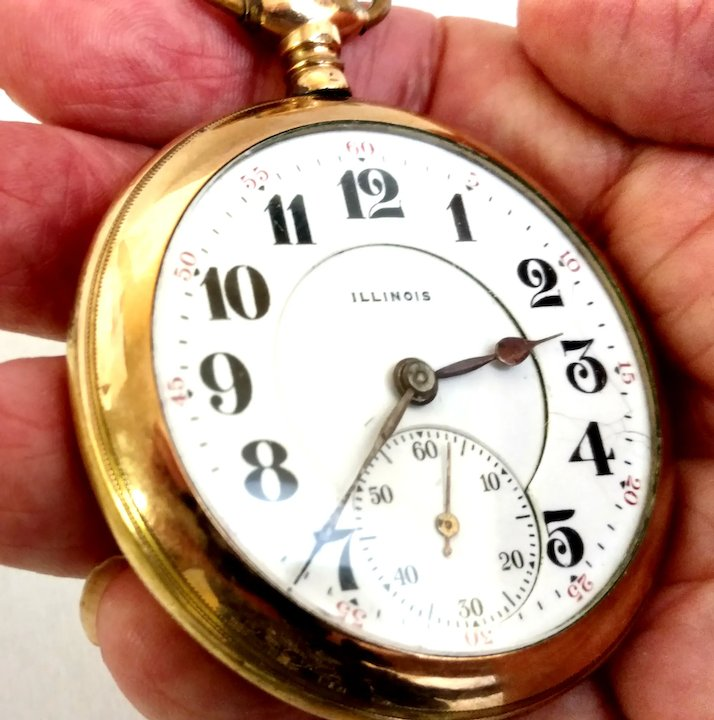 Pocket Watch Antique Illinois Open Face 17 jewels 16s Circa 1917 Lever set,  Gold Filled, Serviced, Running, Accurate WAT10244