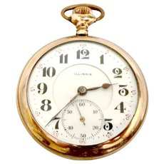 Pocket Watch Antique Illinois Open Face 17 jewels 16s Circa 1917 Lever set, Gold Filled, Serviced, Running, Accurate WAT10244 on SALE thru Thursday 12-19-19