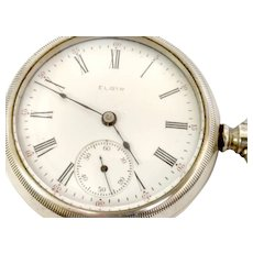Antique 1904 Elgin 18s, 7 jewel Lever set Open face Pocket Watch, Ore Silver Case Running and Accurate (WAT10250)