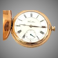 Antique Hunter's Case gold filled Hamilton Pocket Watch Model 975, 17J, 16s, Circa  1908 Running and Accurate (WAT10253) on SALE thru Thursday  12-19-19