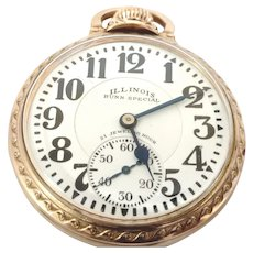 Vintage Illinois 60 hour Bunn Special, 21 jewels, Lever set Pocket Watch 16s Circa 1929 Running and Accurate (WAT10263)on SALE thru Thursday 12-19-19