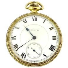 Very Rare Hamilton Pocket Watch 994 Railroad Grade 16s, 21j Circa 1913 open face Very highly esteemed for accuracy and quality (WAT10274) on SALE thru Tuesday 12-03-19