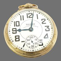 Vintage Waltham Vanguard Premier Railroad Pocket Watch, 23j, 16s, 6 position, 10kt gold filled Circa 1937(WAT10286) Accurate and Running on SALE thru 4/29/2021