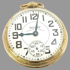 Vintage Waltham Vanguard Premier Railroad Pocket Watch, 23j, 16s, 6 position, 10kt gold filled Circa 1937(WAT10286) Accurate and Running