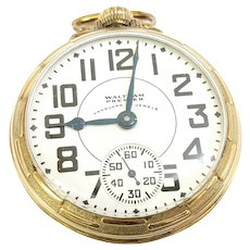 Vintage Waltham Vanguard Premier Railroad Pocket Watch, 23j, 16s, 6 position, 10kt gold filled Circa 1937(WAT10286) Accurate and Running on SALE Great Piece