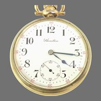 Antique Hamilton 974 Pocket Watch, 16s 17Jewels, Stem Set, Railroad Grade, Circa Oct 10, 1908(WAT10303) Running and Accurate on Sale thru 4-27-2021