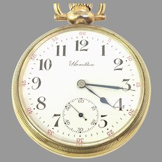 Antique Hamilton 974 Pocket Watch, 16s 17Jewels, Stem Set, Railroad Grade, Circa Oct 10, 1908(WAT10303) Running and Accurate Great Watch